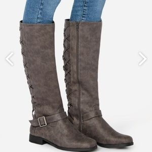New JustFab Tall Flat Boot Marine Grey